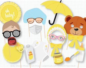 Baby Shower Photo Booth Props, Gender Neutral Shower, Photobooth Props, Baby Shower, Oh Baby, New Baby, Yellow Props, Pregnancy Props