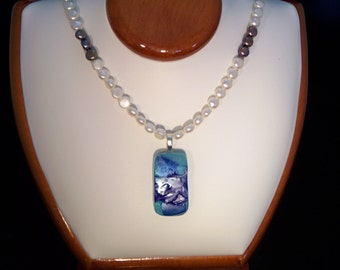 Blue Fused Glass Pendant on a Genuine Pearl Necklace