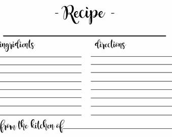Printable Recipe Card