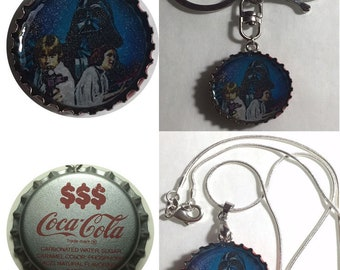 Old Coke Coca-Cola 1970' Soda Bottle Cap Star wars ad Darth vader Leia Han Solo Keychain, Pendant, Necklace