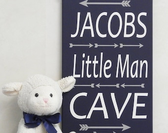 Little Man Cave Personalized Name Sign Plaque for Baby Nursery, Playroom, Childs Bedroom Painted in Navy and Gray