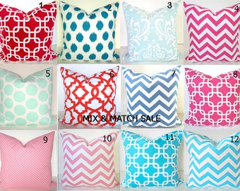 Sale PINK PILLOWS Orange Pillows Aqua Blue Pillow Covers Pink Pillows Lime Green Pillow Covers ALL Sizes 16 18 20 Turquoise Blue Pillow