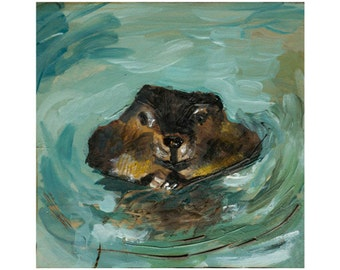 Beaver Giclee Art Print, Beaver Wall Art, thepaintedgrove