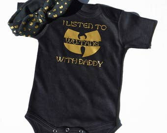 wu-tang baby bodysuit and bow set / onepiece /wu tang baby /aztec pattern /black and gold bodysuit /hip hop baby /baby shower gift set