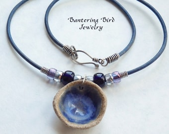 Leather Choker with Blue Ceramic Pendant, Sterling Silver, African Glass Beads, Casual Necklace, Unusual Jewelry