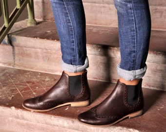 Womens Over the Ankle Leather Boots