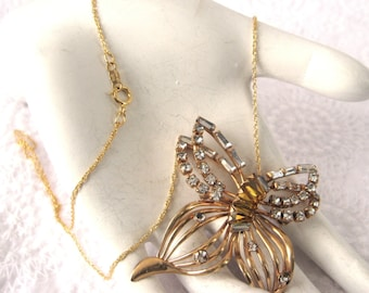 Phyllis Necklace Rhinestone Butterfly Convertible Pin Pendant Amber Filigree 1950s With Chain