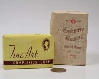 Antique Vintage Bars of Soap Original Package ~ Fine Art Complexion Soap and Cashmere Bouquet Toilet Soap, 40s 50 Props ~ Armour & COLGATE