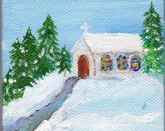 Church, Trees mini canvas art painting, Trees in Snow 3 x 3 Mini Painting, Miniature Canvas art, Easel, acrylic painting, Christmas decor