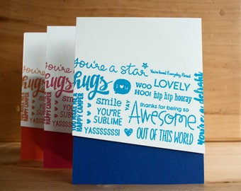 SET OF 3: word collage stamped, handmade greeting cards