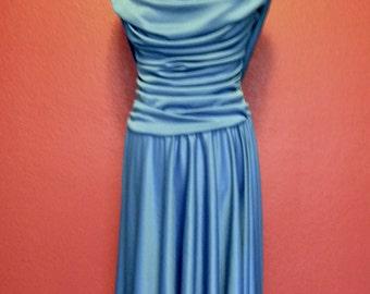 Vintage Ruche Blue Formal Dress