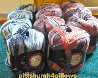 Palette Collection -  Nylon Ribbon Yarn   2 Colors - Series 023/219 - 100% Nylon - 50 Gr - 49 Yd - Black & Grey and 7 Orange and Purple