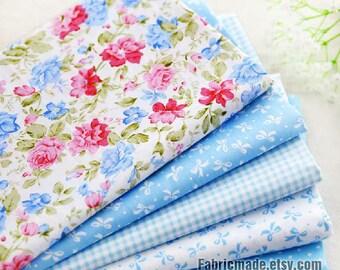 """Fat Quarter Bundle / Light Blue Cotton Bundle Fabric / Quilting Fabric Bundle/ Blue Fabric - 5 Bundle each 20""""X30"""""""