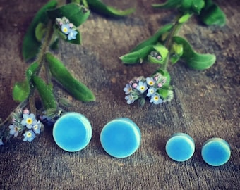 Little Blue Ceramic Unisex Modern Earrings Small Bluebonnet Stud Mini Pottery Surgical Steel Post