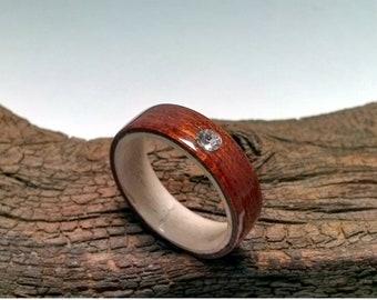 Mahogany Maple Bentwood ring Swarovski Stone