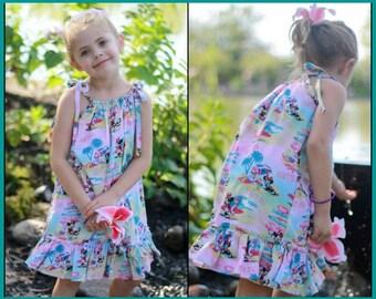 Minnie Hawaiian Dress; Luau Dress; Disney Cruise Dress; Pillowcase Dress; Infants, Toddlers, Girls; Siblings; Minnie Surf's Up Fabric