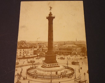 Vintage Postcard  - Paris - Place de la Bastille - 1920s postcard gift for Paris lovers  old Pariw black and white postcard