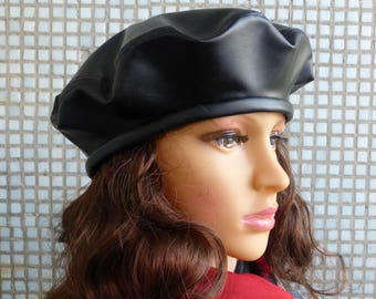 Beret Womens Beret Hat Black Leather Beret Hat Womens Leather Hat  Fashion Beret Hat Leather Womens Cap Ladies Beret Hat Womens  Newsboy Hat