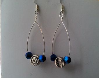 Wire Loop Earrings - Moon and Sun, Iridescent Glass Beads - Hoop Earrings, Mystical Earrings, Silver Hoop Earrings, Ready to Ship