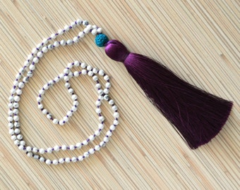 Hand knotted white howlite necklace Long tassel necklace Mala beads Mala necklace with long tassel Bohemian jewelry Yoga necklace Boho chic