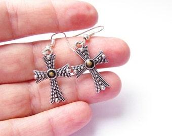Silver Mustard Seed cross earrings, Faith jewelry - Mustard Seed earrings. Unique Mustard Seed jewelry – silver cross