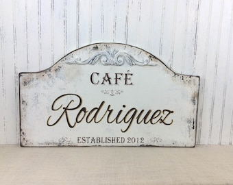 Custom personalized cafe kitchen sign, distressed kitchen decor, country french sign, Paris Apartment sign, Mother's Day gift