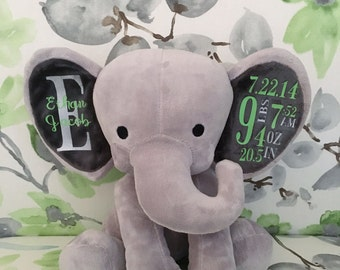 Personalized Birth Elephant, Personalized Stuffed Animal, Baby Shower Gift, New Mom