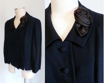 FINAL SALE --- Vintage 1950s Navy Blue Wool Jacket with Rosette