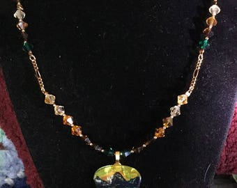 Swarovski crystal  handpainted guitar pick necklace