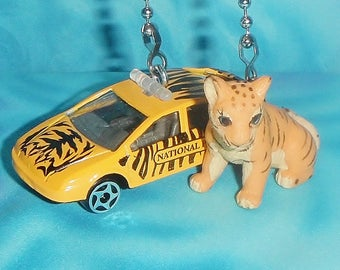 Set of Two ~ DIECAST Safari Car & Baby Tiger Africa ~ Ceiling Fan Pulls