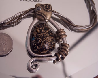 Chico's Bronze and Silvertone Cabochon Abstract Cat Pendant Necklace, Vintage - Signed