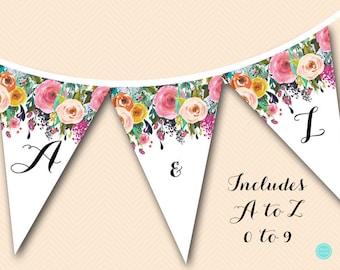 Printable Garden Bridal Shower Banner, Garden Bunting, Floral Banner, Floral Wedding Banner, Floral Baby Shower Banner BS402 TLC140 bs138