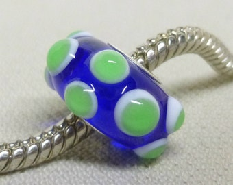 Handmade Lampwork Bead Transparent Blue with White and Green Dots Silver Cored