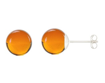 925 Sterling Silver Natural 6mm Round / Ball Amber Gemstones Stud Earrings
