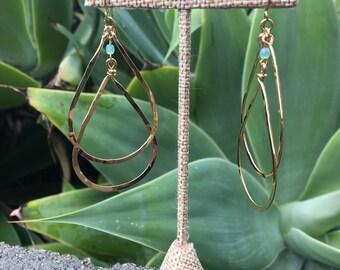 Gold Teardrop Earrings, Gold Dangling Earrings, Dangle Earring, Disco Earrings, Hammered Gold, Blue and Gold Earrings, Double Teardrop Boho