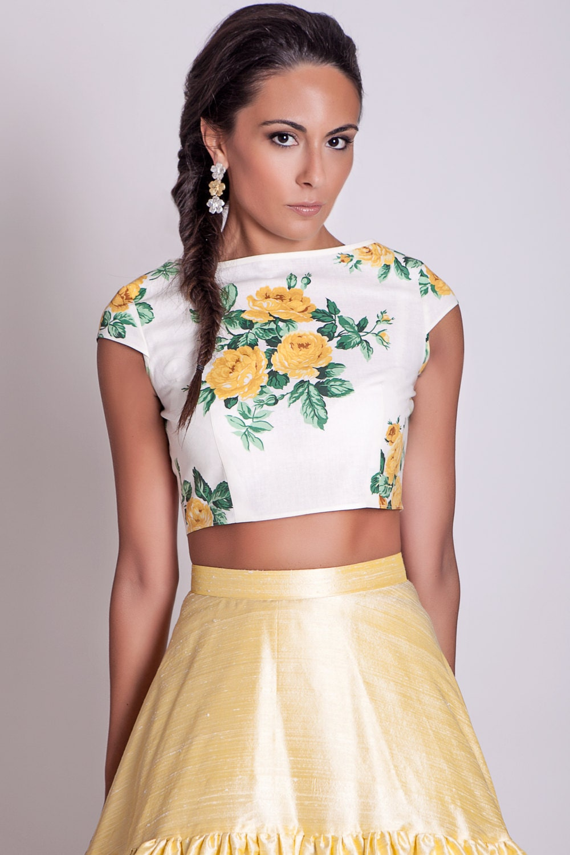 Cap sleeves crop top with yellow roses floral crop top zoom mightylinksfo