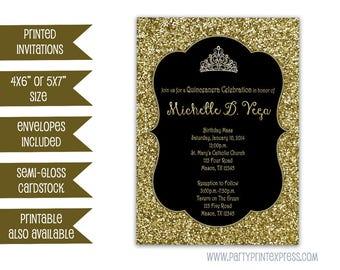 Gold Glitter Sweet 16 Invitation - Black and Gold Sweet 16 Invite - Gold Princess Tiara Invitations - Chalkboard - Elegant Invite - Any Age