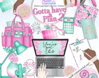 28 png Planner cliparts, girl boss clip art, pink mint stationery graphics, office girl printable stickers, illustration, planner tote