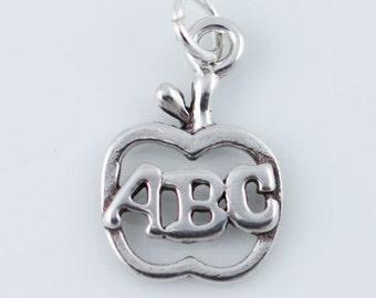 Apple ABC Charm, Alphabet, Teacher Charm, Sterling Silver Charm, Apple Pendant, Teacher Gift, Open Apple Charm, Charm Bracelet,  CM023GD
