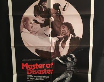 Original 1981 Master Of Disaster One Sheet Movie Poster, Kung Fu, Karate, Martial Arts