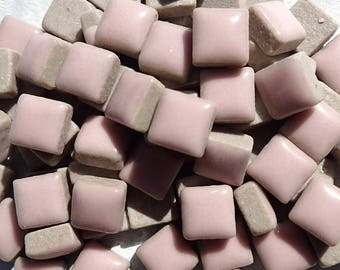 Pale Pink Square Mosaic Tiles - 1 cm Ceramic  - Half Pound in Antique Pink