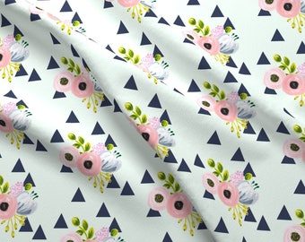Baby Girl Floral Triangle Fabric - Floral Triangles - Navy And Mint By Ajoyfulriot - Nursery Cotton Fabric By The Yard With Spoonflower