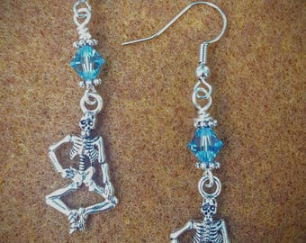 Skeleton Earrings, With Swatovski Crystals