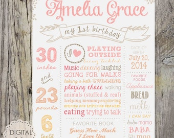 1st Birthday Chalkboard Printable Poster - White pink soft birthday board sign 3rd birthday party - DIGITAL FILE!