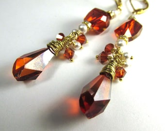 Swarovski Red Magma Crystal and White Pearl Long Earrings on 14k Gold Fill
