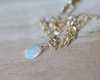 Tiny Opal Pendant on Rose Gold Filled, Oxidized Sterling or Sterling Silver Chain, Delicate Welo Opal Necklace, Genuine Opal Layering