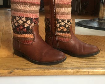 Vintage Kiboots Brown Leather and Wool Geometric Top Boots. Women's Size 6 1/2