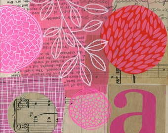 In the Pink / ORIGINAL ART / mixed media collage / pink / vintage papers 6x6