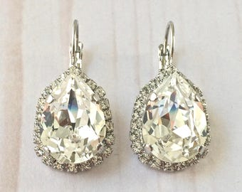 Bridal earrings - Clear Crystals - Swarovski Earrings - Swarovski crystal tear drop earrings, accented with crystals