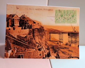 Rottingdean Beach & Cliff Greeting Card, Beach, Vintage, Postcards, Stamps, Birthday, Anniversary, Get Well, Fathers Day, Letter Writing.